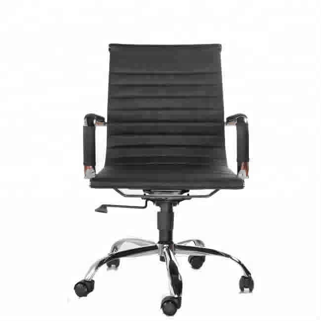 black vinyl PU leather Ribbed mid back swivel office Chair